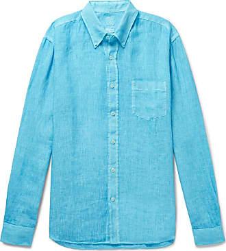 120% CASHMERE Button-down Collar Slub Linen Shirt - Blue