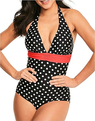 Figleaves Tuscany Spot Print Tummy Control Shaping Swimsuit - Longer Length Black