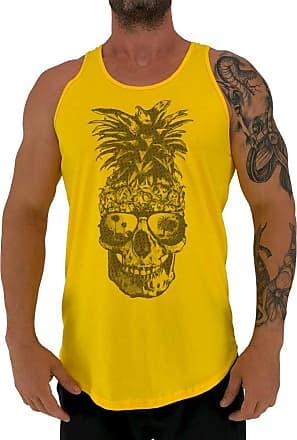 MXD Conceito Regata LongLine Masculina Cavada MXD Conceito Pineapple Skull Long Line (Amarelo, GG)
