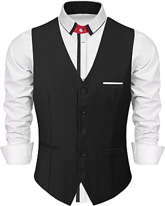 iClosam Mens Waistcoats Classic Paisley Vest Suit Set Slim Fit Formal Wedding Business Vest (Black, M)