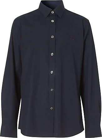 Burberry Camisa com monograma bordado - Azul