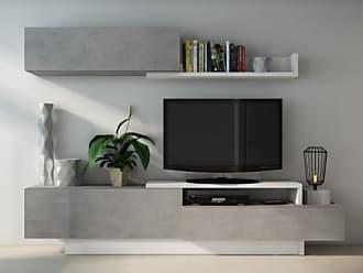 Vente-unique.ch TV-Wand mit Stauraum MONTY - Weiß/Beton-Optik