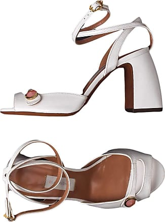 L'autre Chose Leather sandal with heel 10 CM White Size: 4 UK