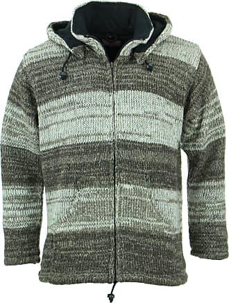 Loud Elephant Chunky Wool Knit Hooded Cardigan Jacket - Two-Tone Brown Oatmeal (X-Large)