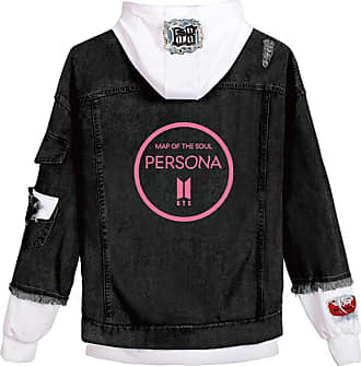 OLIPHEE Womens Casual Denim Jacket Button Splicing Hooded Fangirls Kpop BTS Persona Bangtan Boys Loveyourself Suga Jin Jung Kook RM J-Hope Jimin V Circle Blac
