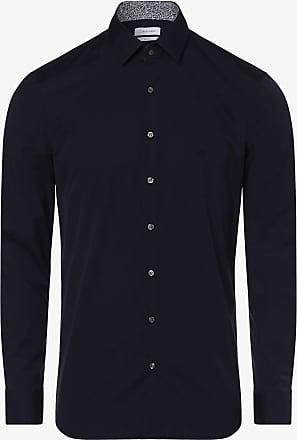 Calvin Klein Herren Hemd - Bügelleicht - Two Ply blau