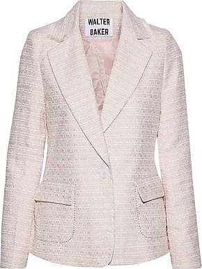 W118 by Walter Baker W118 By Walter Baker Woman Kari Frayed Metallic Tweed Blazer Pastel Pink Size M