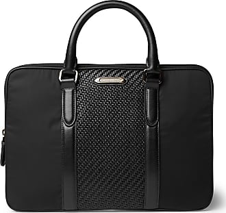 Ermenegildo Zegna Pelletessuta Leather And Nylon Briefcase - Black