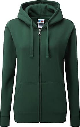 Russell Athletic Russell Ladies Premium Authentic Zipped Hoodie (3-Layer Fabric) (XS) (Bottle Green)