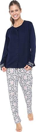 Pzama Pijama Pzama Estampado Azul-marinho/Branco