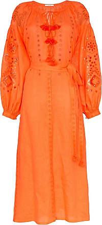 Vita Kin Vestido bordado de linho - Laranja