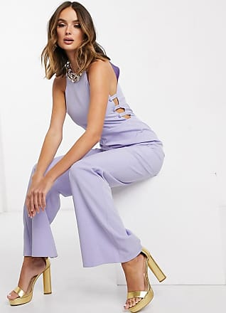 Missguided button side bridesmaid jumpsuit in lilac-Blue