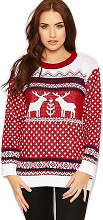 Crazy Girls Unisex Mens Womens Reindeer Christmas Jumper Fairisle Xmas Novelty Knitted Sweater Top S-XL (M/L, Red/White)
