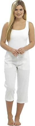 Lora Dora Womens Linen Full Length/Capri Trousers White Cropped UK 20