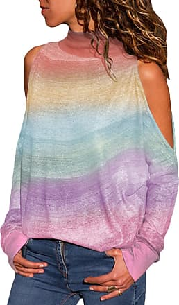 Yoins Women Cold Shoulder Turtle Neck Tops Long Sleeve Geometric Stripe Casual Loose Blouse Tee Pullover Tie Dye-Colorful S