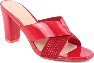 Unze Unze Women Sawyer Butterfly Strap Semi-Formal Slip on Casual Embellished Outdoor Open Toe Block Heel Slip On Sandals UK Size 3-8 - F98763-23 Red