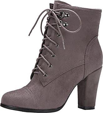 912f9f74713221 Aiyoumei Damen Blockabsatz High Heels Stiefeletten mit Schnürung und  Reißverschluss Ankle Boots