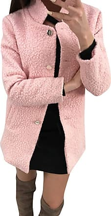 NPRADLA Women 2019 Winter Suit Collar Warm Coat Button Long Sleeve Solid Color Casual Long Jacket Pink