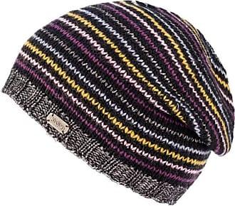 KuSan 100% Wool & Metallic Stripe Sloppy Beanie Hat PK1807 (Black)