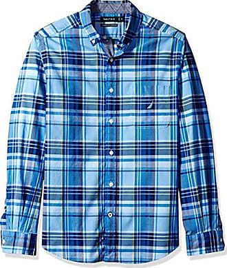 Nautica Long Sleeve Plaid Stretch Slim Fit Button Down Shirt