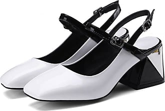 5229b8150d GAOLIXIA Womens Ladies Leather Summer Thick with High Heels Hollow Sandals  Mid High Heel Work Shoes