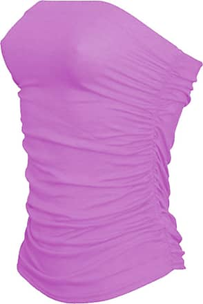 Janisramone Womens New Boobtube Bandeau Strapless Top Ladies Both Side Ruched Crop Bra Vest Top Lilac