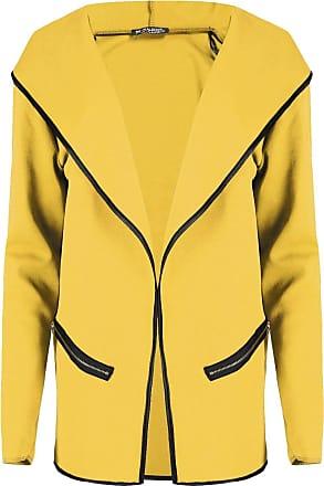 Be Jealous Womens Ladies Open Front Waterfall Full Sleeve Zip Pockets Hoodie Top Baggy Jacket Cardigan Mustard