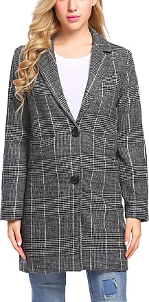 Zeagoo Women Casual Notch Lapel Plaid Single-Breasted Black Wool Blend Coat Top
