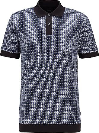 BOSS HUGO BOSS - Seasonal Patterned Polo Shirt In Cotton Jacquard - Light Blue