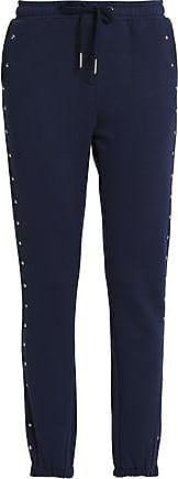 Zoe Karssen Zoe Karssen Woman Studded French Cotton-blend Terry Track Pants Navy Size M