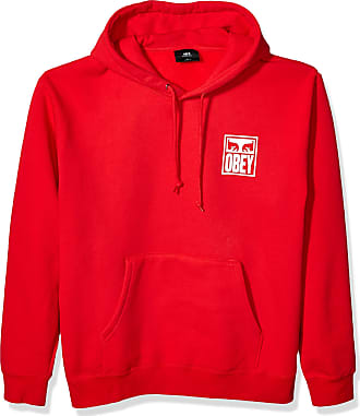 Obey Mens Eyes ICON Box FIT Hooded Fleece Sweatshirt, Red, Large