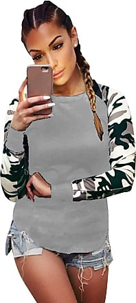 Isshe Round Neck Long Sleeve Tops for Women Ladies Long Sleeve Crew Neck Shirts Top Blouse Camouflage Shirt Casual Blouses Fitted T-Shirt Underwear Grey L