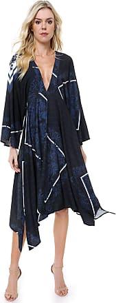 Lança Perfume Vestido Lança Perfume Midi Amplo Estampado Azul-marinho