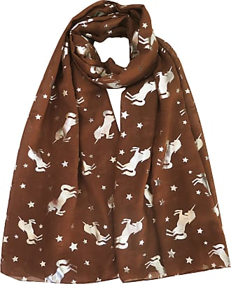 Lina & Lily Silver Unicorn Glitters Scarf Shawl Wrap (Brown)