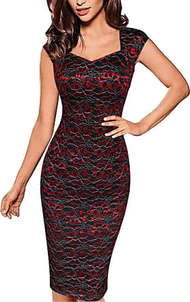 ZhuiKun Womens Sleeveless Lace Floral Print Bodycon Evening Party Midi Dress Red 3XL