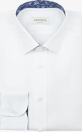 Apposta Camicia tinta unita bianco lino tela, collo stile italiano aggiornato