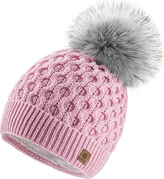 4sold Ladies Chunky Soft Cable Knit Handmade Woman Hat Cosy Fleece Liner and Bobble Faux Fur Pom pom (LORA Pink)