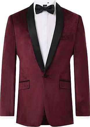 Dobell Mens Burgundy Tuxedo Dinner Jacket Slim Fit Velvet Contrast Shawl Lapel-46R