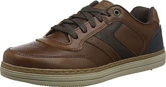 Skechers Mens Heston Trainers, Brown (Dark Brown Leather Dkbr), 10.5 UK (45.5 EU)