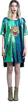 YSKI T-shirt Dress Paetê M Verde Reversível