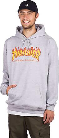 Thrasher Flame Hoodie grey mottled