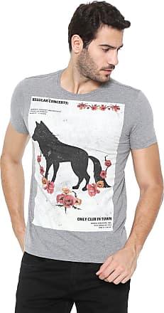 Acostamento Camiseta Acostamento Estampada Cinza
