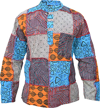Gheri Mens Thick Paisley Patch Cotton Grandad Collarless Full Sleeve Shirts A 3X-Large