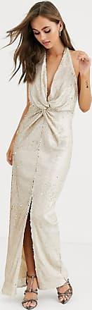 Little Mistress lange jurk met overslag aan de voorkant en lovertjes in crème en goud