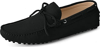 MGM-Joymod Mens Comfortable Lace-up Black Suede Driving Walking Moccasin Penny Loafers Boat Slip-on Shoes 12 M UK