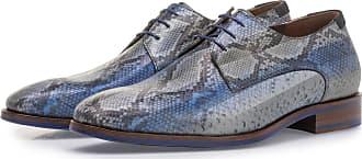 Floris Van Bommel Blauer Schnürschuh mit Schlangenprint, Business Schuhe, Handgefertigt