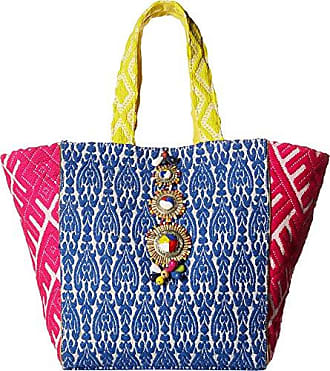 895a6acb4b Steve Madden Zena Tribal Geometric Multi Colored Bohemian Fabric Tote  Shoulder Beach Handbag