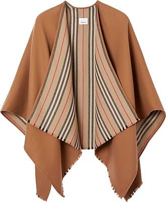 Burberry Pelerine Icon de lã com detalhe de listras - Marrom
