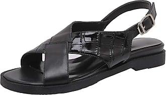 Mediffen SUCREVEN Women Casual Flat Sandals Summer Slingback Sandals Open Toe Beach Sandal Black Size 1.5 UK/34