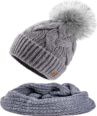 morefaz Set Scarf & Hat Mohair Wool Women Winter Beanie Hat Worm Neck Knitted Hats Fleece Pom Pom (Grey Set Hat&Scarf)